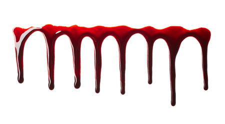 Flowing blood isolated on white background Stock Photo