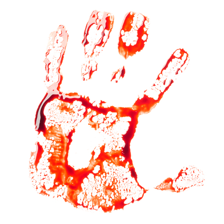 Bloody handprint isolated on white background Stock Photo