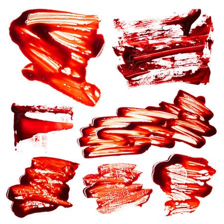 Set of blood smudges isolated on white background Stock Photo