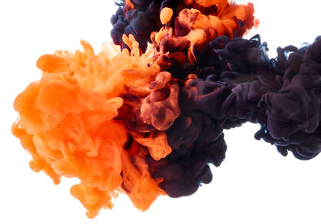 Abstract color paint in water on white background Banque d'images