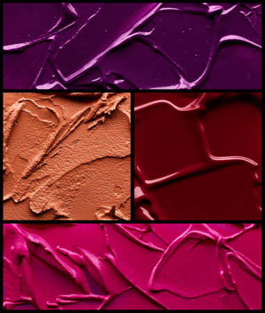 Set of lipstick swatches different colors