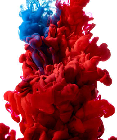 Blue and red abstract ink splash on white background