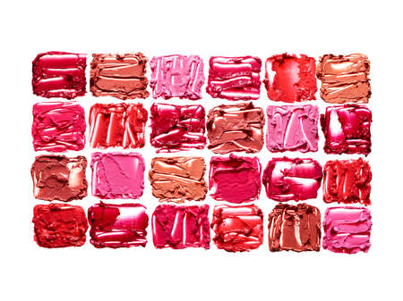 Set of small square lipstick swatches isolated on white background Standard-Bild