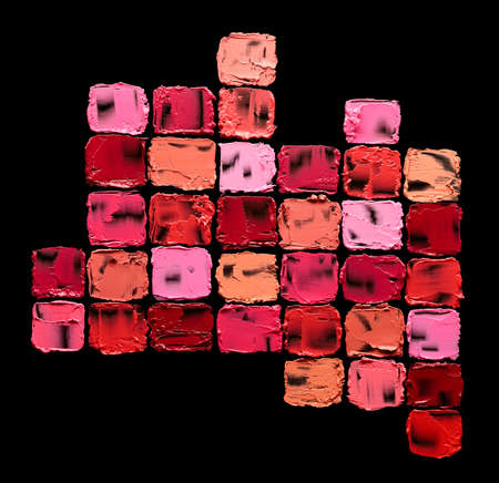 Set of different colors square lipstick swatches over black background Standard-Bild