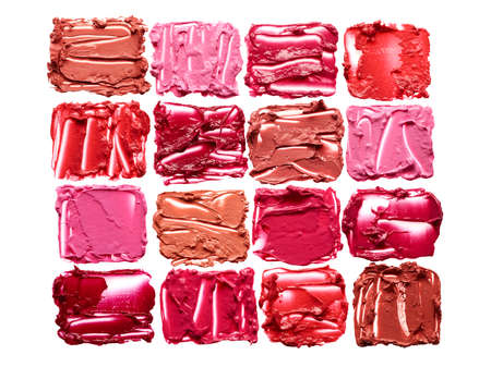 Palette of lipstick smears isolated on white background