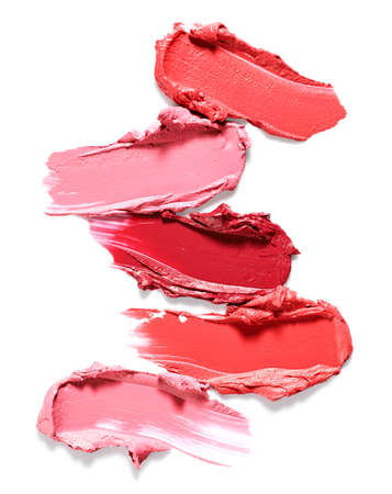 Set of smudged lipstick strokes isolated on white background