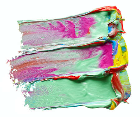 Mixed colors paint strokes on white