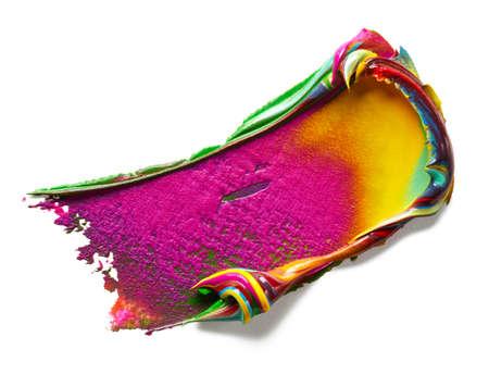 Creative multicolor paint stroke on white Banque d'images