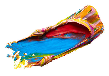 Blue and red mixed colors paint smear over white