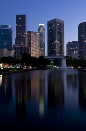 downtown district: Los Angeles skyline at dusk