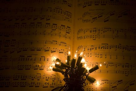 orchestration: Christmas Scene with lights and music Stock Photo