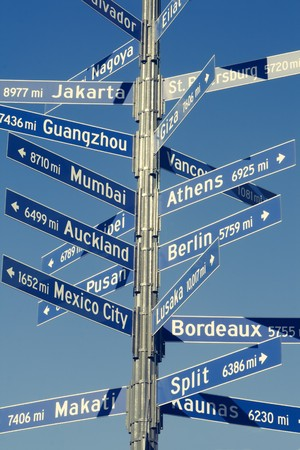 mileage: Directional sign for mileage to various world capitals from Los Angeles.