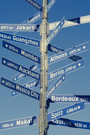 kilometraje: Se�al direccional de kilometraje a diversas capitales del mundo de Los Angeles.