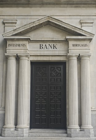 replaceable: Architectural Detail With Example of Replaceable Financial Institution Engraved Text  Stock Photo