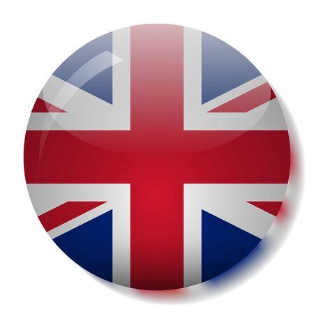 Ilustración de vector de botón de cristal de bandera de Reino Unido
