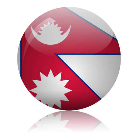 Nepalese flag glass ball on light mirror surface vector illustration 向量圖像