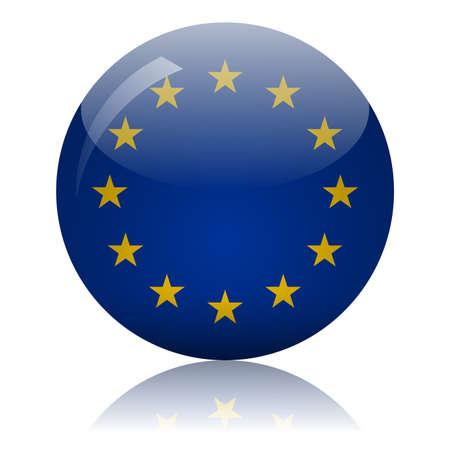 European Union flag glass ball on light mirror surface vector illustration