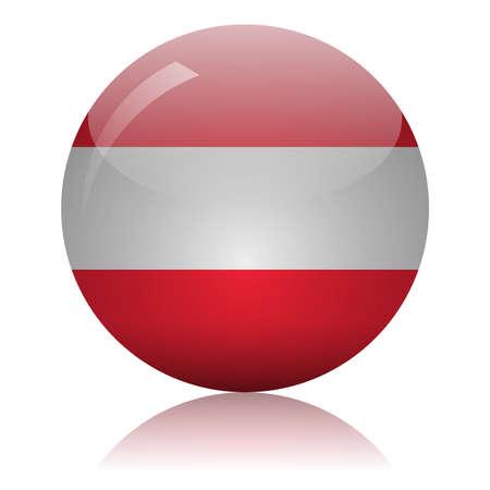 Austrian flag glass icon vector illustration Vector Illustratie