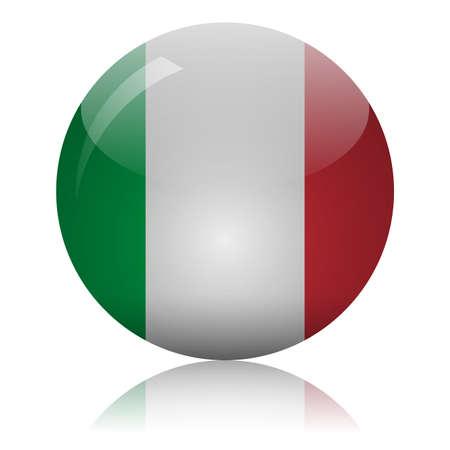 Italian flag glass icon vector illustration