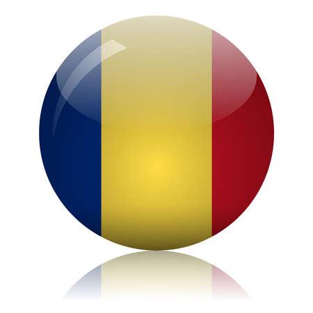 Romanian flag glass icon vector illustration Vectores