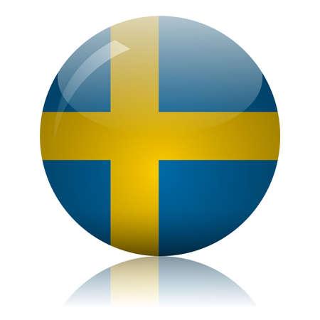 Swedish flag glass icon vector illustration