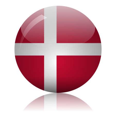 Danish flag glass icon vector illustration Vectores