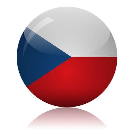 Czech flag glass icon vector illustration
