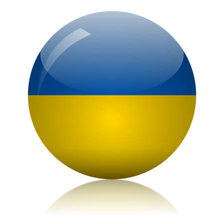 Ukrainian flag glass icon vector illustration