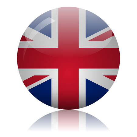 UK flag glass ball on light mirror surface vector illustration