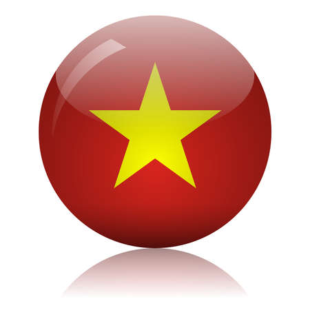 Vietnamese flag glass icon vector illustration
