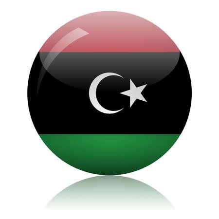 Libyan flag glass ball on light mirror surface vector illustration
