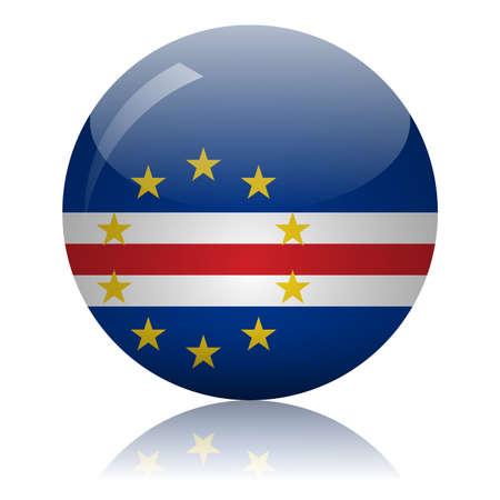 Cape Verde flag glass ball on light mirror surface vector illustration