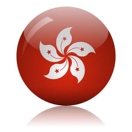 Hong Kong flag glass ball on light mirror surface vector illustration Ilustracja