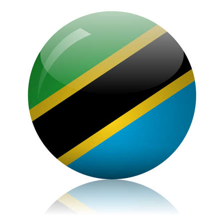Tanzania's flag glass ball on light mirror surface vector illustration