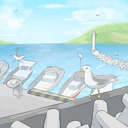 A fishing port where seagulls gather