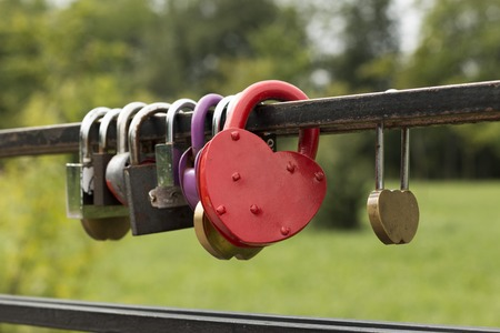 locks in the form of heart on the railing of the bridge  photo
