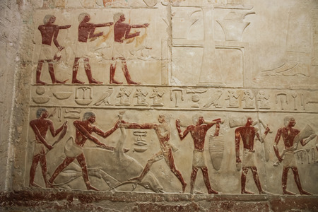 djoser: Fragment of the bas-relief in the temple near the pyramid of Djoser. Egypt