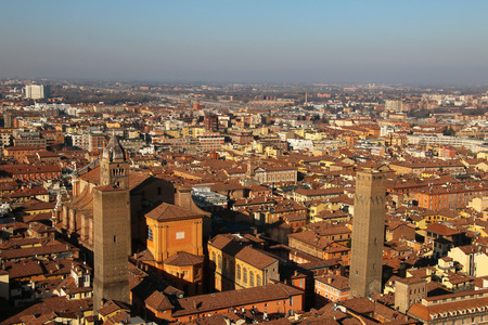 bologna: Panorama of old Bologna, Italy