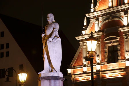 town hall square: Sculpture of Roland at the Town Hall Square, Riga, Latvia
