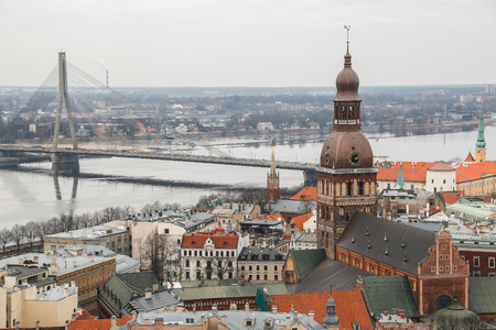 st  peter s square: View at Riga from the tower of Saint Peters Church, Latvia. Stock Photo
