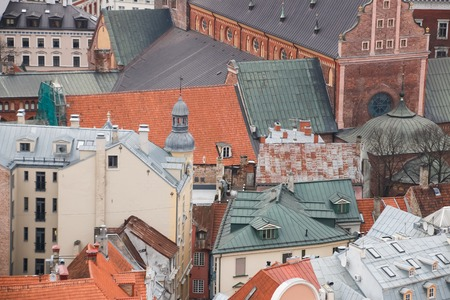 st peter s square: View on the roofs of old houses, Riga, Latvia. Stock Photo