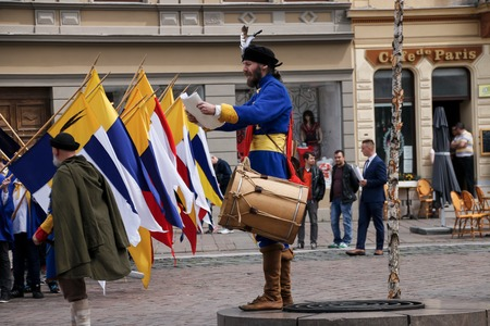 musketeer: Kosice Slovakia - May 08 2016: The costumed feast. Editorial