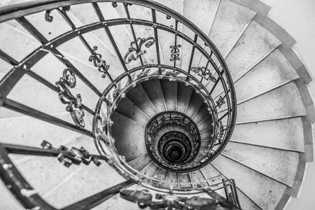 bannister: The Spiral stairs St.Stephens Basilica Budapest Hungary.