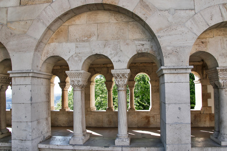 fishermen's: Fishermens Bastion in the summer. Architectural details. Budapest, Hungary