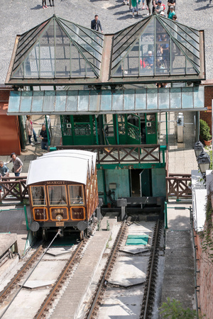 traverse: Budapest, Hungary - CIRCA May, 2016: Funicular full of people traverse a hill