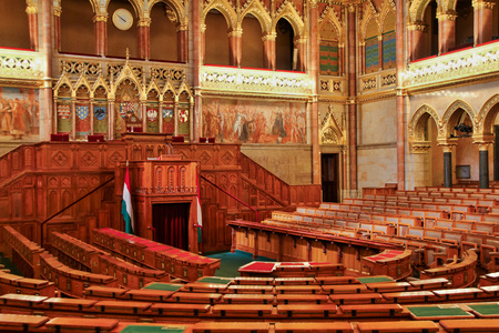 gothic revival: BUDAPEST, HUNGARY - MAY 8, 2016: Interior view of Parliament Building. The building was completed in 1905 and is in Gothic Revival style.