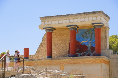 minoan: Knossos palace, Crete island, Greece. Detail of ancient ruins of famous Minoan palace of Knosos