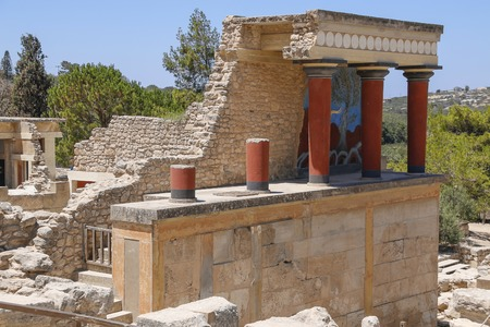 Knossos palace, Crete island, Greece. Detail of ancient ruins of famous Minoan palace of Knosos