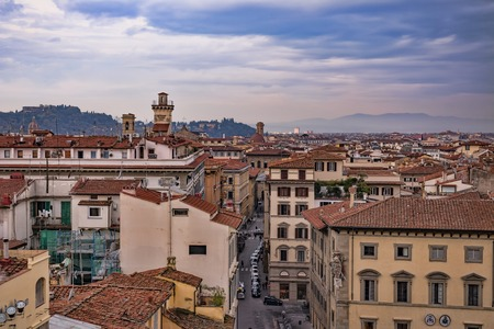 Beautiful aerial view of Florence from the observation platform of Campanile di Giotto. Florence is the ancient capital city of the Italian region of Tuscany and of the Metropolitan City of Florence. Stock Photo