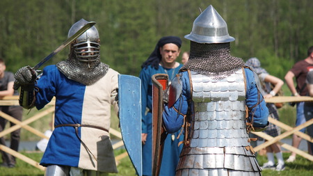 Minsk, Belarus - May 20, 2017 Battle of medieval knights